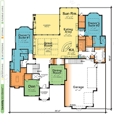 house plans with in suite house plans with two owner suites design basics