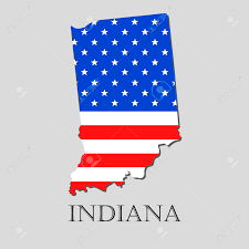 State Of Indiana Map by Map Of The State Of Indiana And American Flag Illustration