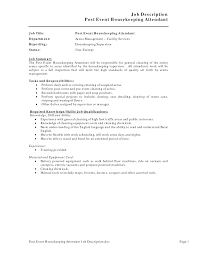 Resume Sample For Housekeeping by Creative Job Description Post Event Housekeeping Resume Arena