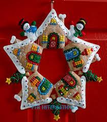 gingerbread wreath bucilla felt christmas home decor kit 86677