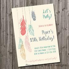 boho feather teen birthday party invitation swim pool