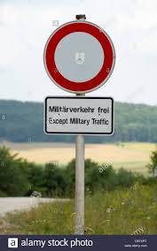 Sign Stands by An U0027except Military Traffic U0027 Sign Stands On The Premises Of The