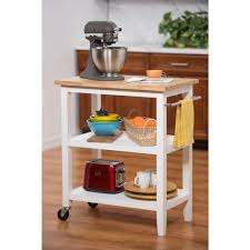 Trinity White Kitchen Cart With Towel BarTBFLWH The Home Depot - Kitchen cart table