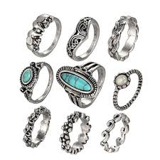 natural stone rings images Big blue natural stone rings set for women mixed flower elephant jpg