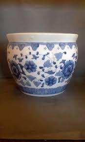 blue white porcelain hand painted jardiniere planter pot large 10