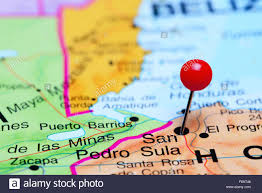 A Map Of The Usa San Pedro Sula Pinned On A Map Of America Stock Photo Royalty