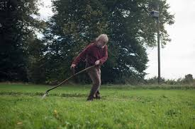 trend alert mowing the lawn with a scythe gardenista