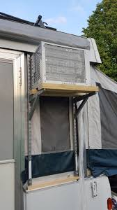 How To Install Portable Air Conditioner In Awning Window Pop Up Camper Remodel Window A C Installation On The Pup Camper