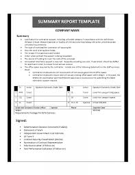 reporting requirement template summary report template