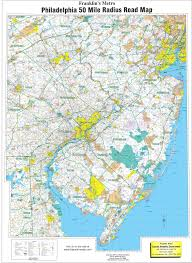 Wa Map Philadelphia 50 Mile Radius Wall Map