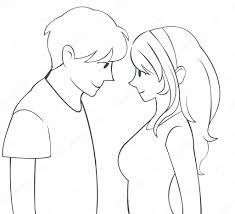 pencil sketch of cute cartoon teen love couple of japanese cartoon