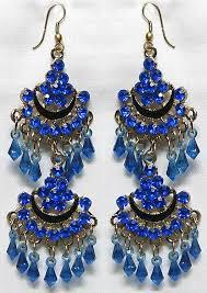 blue chandelier earrings blue studded chandelier earrings