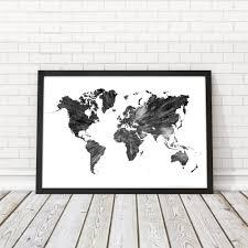 World Map Black And White World Map Wall Art Black And White Wall Decor World Map