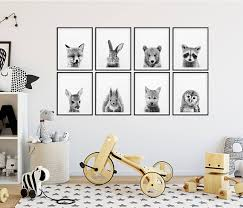 White Nursery Decor Woodland Nursery Decor Black White Baby Animals Set 8 Bunny