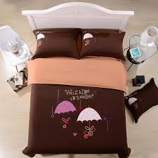 moonwalk umbrella coffee cotton bedding sets luxury duvet cover