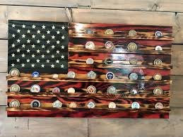 Military Flag Frame Challenge Coin Holder Rustic Glory American Flag Military