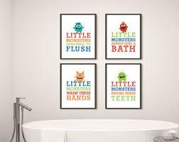 Etsy Bathroom Art Monster Bathroom Art Etsy