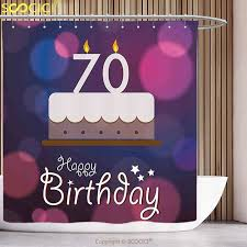 Polyester Shower Curtain 70th Birthday Decorations Cartoon Style