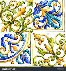 italian majolica tiles floral ornament stock illustration