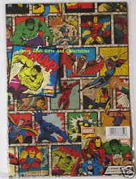 marvel wrapping paper wrapping paper 2 sheets 2 tags marvel comics with