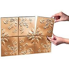 Copper Tile Backsplash For Kitchen - amazon com tin peel u0026 stick raised floral pattern backsplash