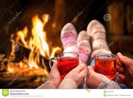 mulled wine at romantic fireplace stock photo image 42266455