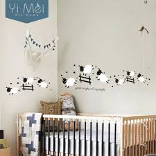 stickers chambre de bebe kawaii mignon saut moutons stickers muraux maison decoration vinyle