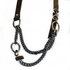 chain leather necklace images Necklace with khaki beige rough leather and iron chains nc 1028 jpg