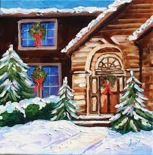 oil painting canvas christmas house snow lights by rbealart a
