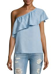 chambray blouse 7 for all mankind one shoulder chambray blouse vista s
