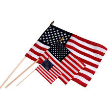 Independence Flag Hemmed Cotton Us Stick Flag American Stick Flags