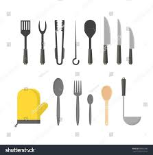 kitchen utensils design cartoon cookware row set kitchen utensils stock vector 669022942