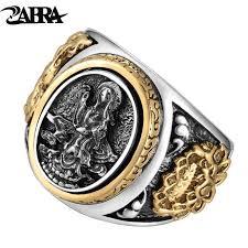 male rings images Zabra vintage buddhism goddess 925 silver dragon male ring gold jpg