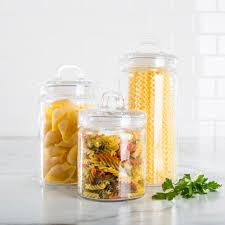 Clear Plastic Kitchen Canisters Ksp Loop Glass Canister With Lid Set Of 3 Clear Kitchen