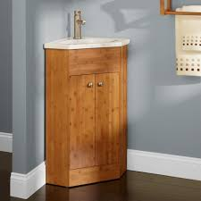 Corner Bathroom Sink Cabinets by Bathroom Appealing Reddish Brown Corner Bathroom Vanity Wooden