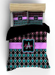 Turquoise And Purple Bedding Personalized Custom Fleur De Lis Bedding Black Pink