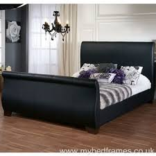 Black Leather Sleigh Bed Duke Faux Leather Sleigh Bed Frame Traditional Sleigh Beds