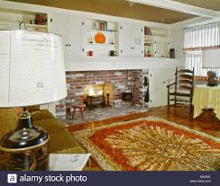 American Furniture Rugs 1960s Interior Of Living Room With Shag Area Rug Fireplace And