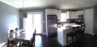 open concept kitchen and dining room studio gray paint color