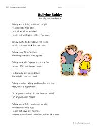 bullying bobby reading comprehension worksheet
