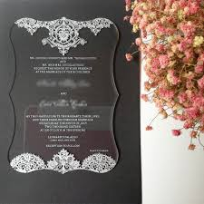 sts for wedding invitations customized 4 75 x6 75 100pcs per lot scroll shape clear acrylic