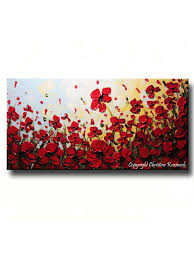 Poppy Home Decor by Custom Art Abstract Painting Red Poppy Flowers Large Textured