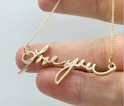 custom handwriting necklace custom 14k gold necklace design actual handwriting necklace gold