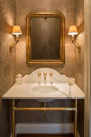 marble wallpaper powder room traditional with gold fixtures