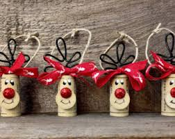 set of 4 adorable wine cork reindeer ornaments these can be used