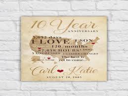 10 year anniversary present 10 year anniversary gift gift for men women his hers 10th 1 year