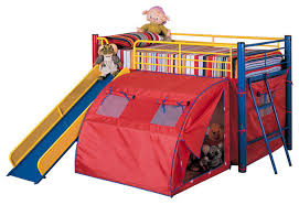 fun play lofted twin bunk bed with slide and tent metal frame