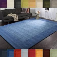 5 X 9 Area Rug Loomed Solid Bordered Tone On Tone Wool Area Rug 5 X