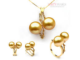 golden pearl rings images Golden cultured south sea pearl jewelry set 11mm 12mm aa jpg