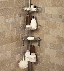 Bathroom Chrome Shelving by Bathroom Modern Tension Pole Corner Shower Caddy Small White